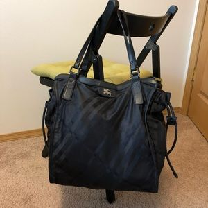 Burberry Black check Buckleigh nylon tote bag